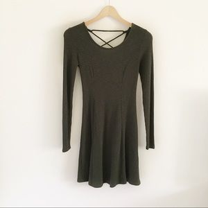 Forever 21 Olive Green Ribbed Lace Up Back Dress